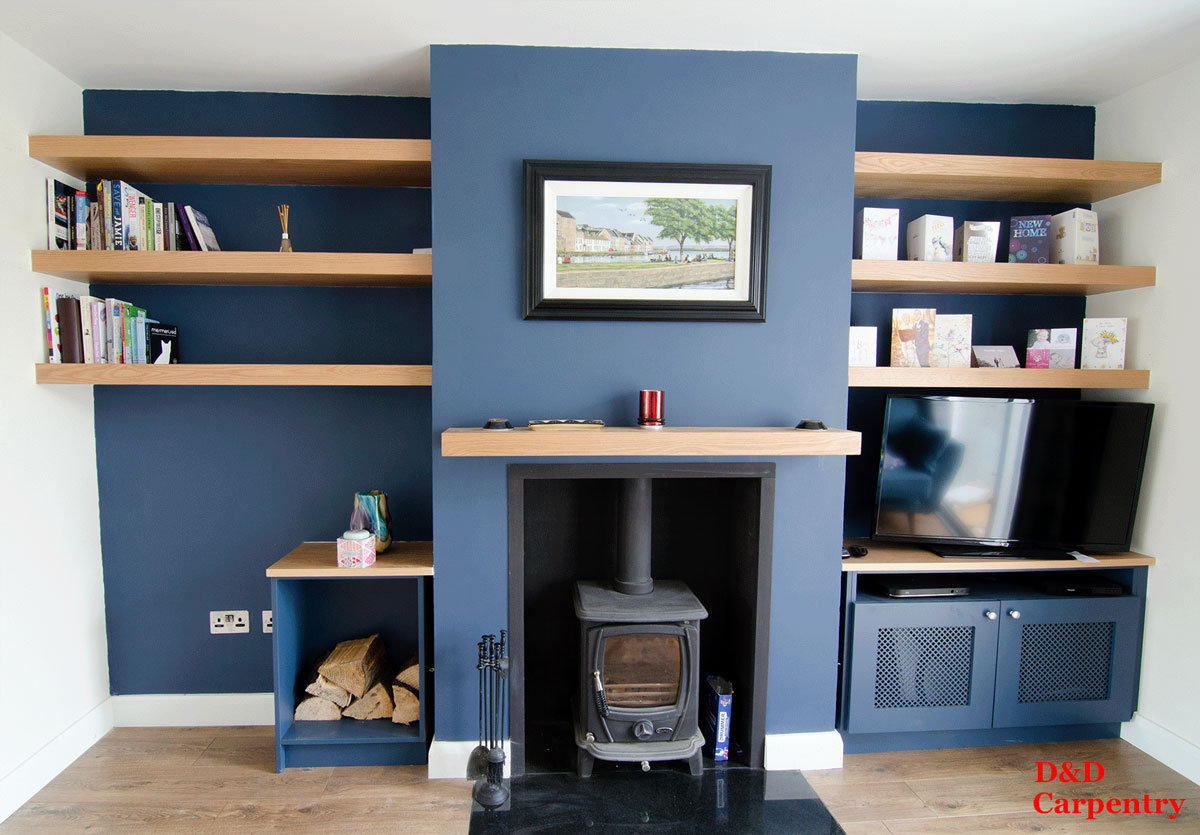 Alcove shelving with bottom TV unit and storage |